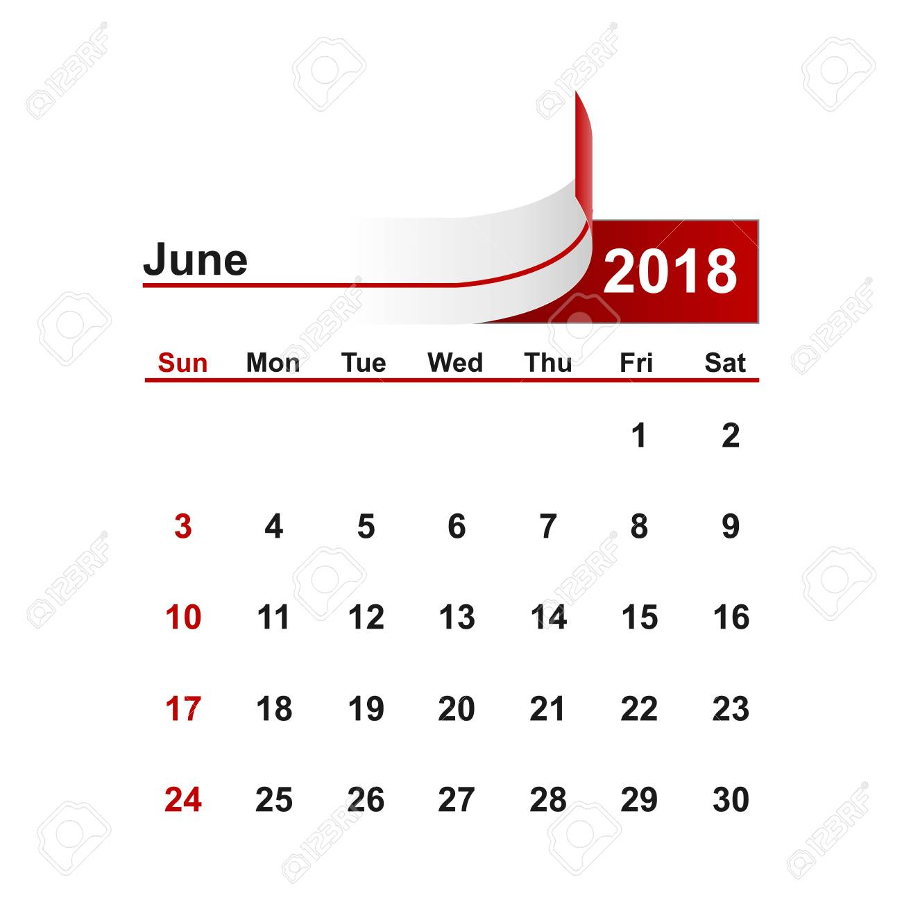Calendario 2018 Brasil.Vector Simple Calendario 2018 Anos De Junio De Brasil
