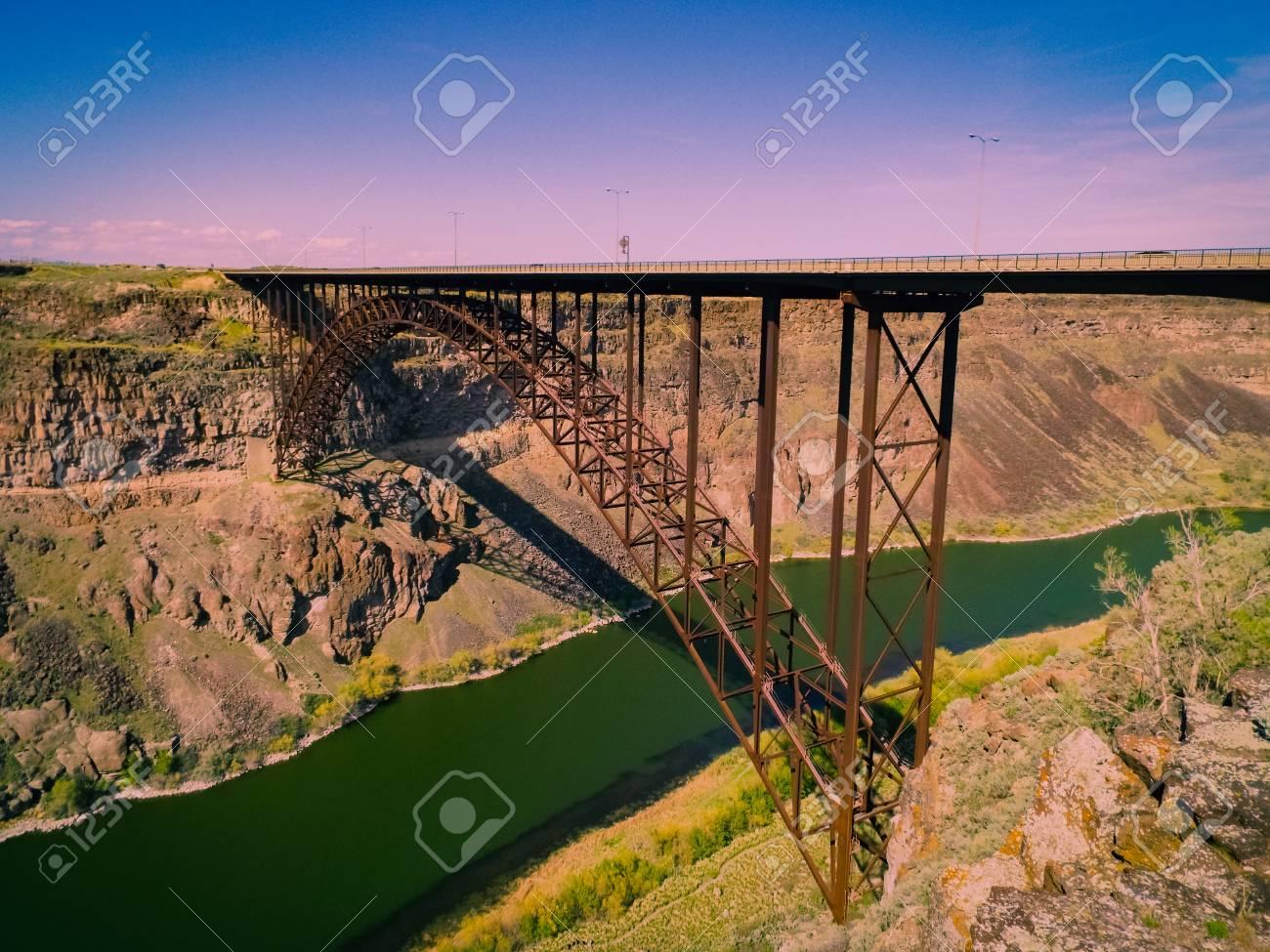 Perrine Bridge In Twin Falls Idaho Is A Popular Destination Stock