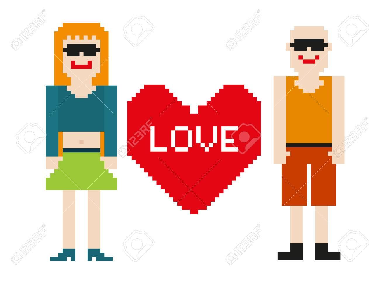 Pixel Art De Deux Personnes Isolees 8 Bits Avec Le Coeur Clip Art Libres De Droits Vecteurs Et Illustration Image 25276415