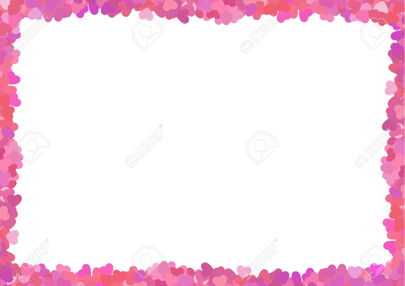Valentine Love Frame Made From A Lot Of Pink Hearts Royalty Free ...