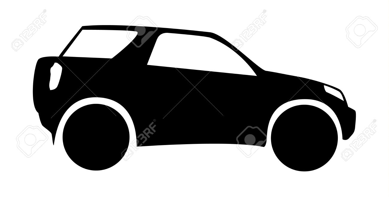 Isolated Silhouette Of Small Offroad Suv Car Royalty Free Cliparts