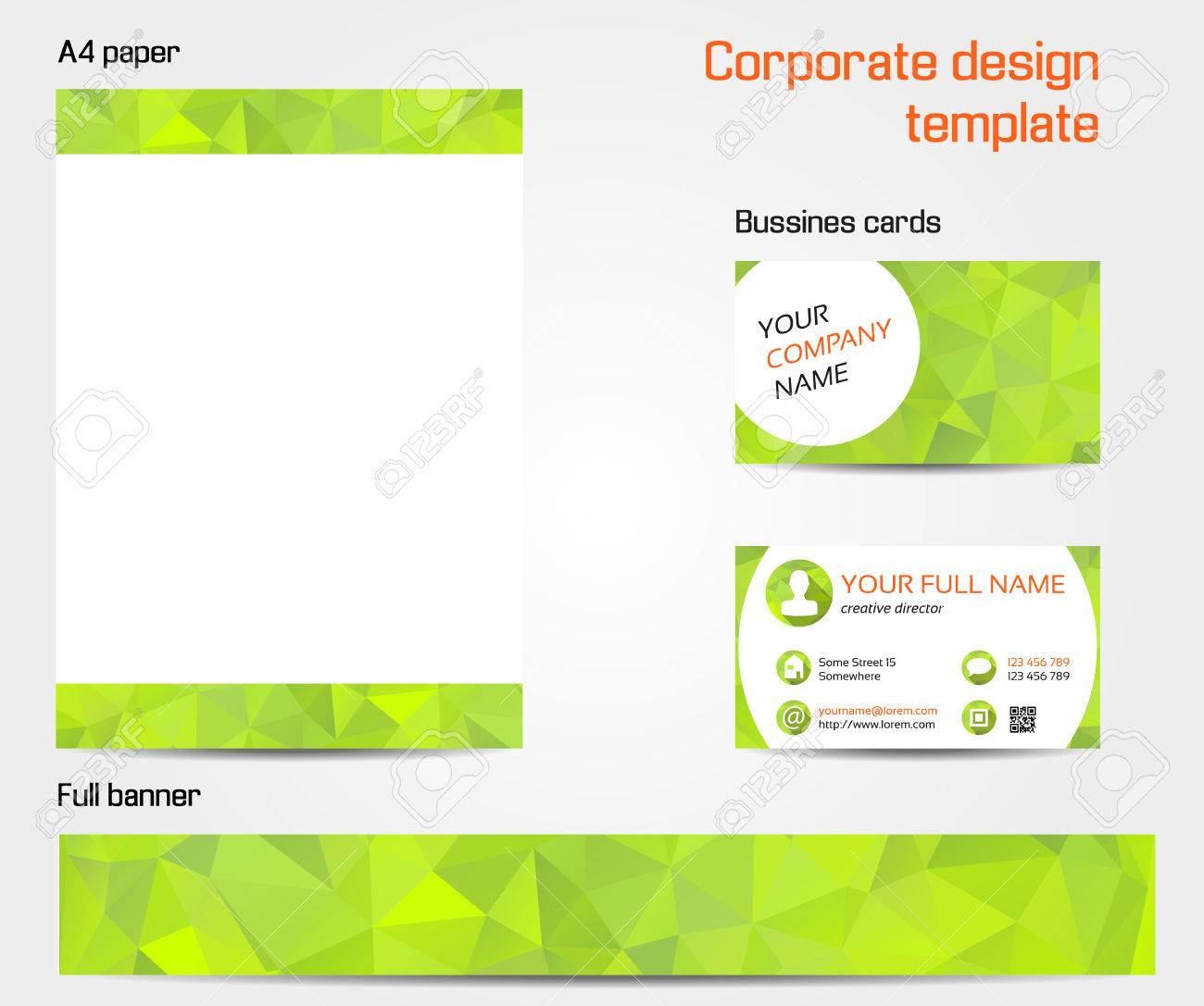 Corporate Design Template Set - Business Card, Banner And A4 ...