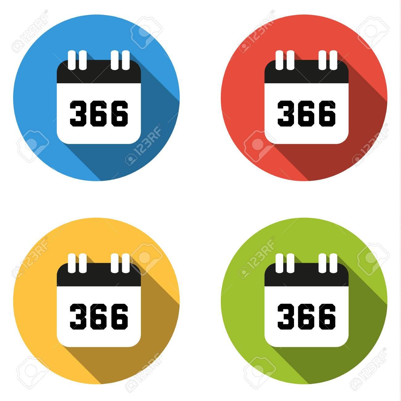 Set De 4 Boutons Colores Isoles Plats Icones Pour Le Numero 366