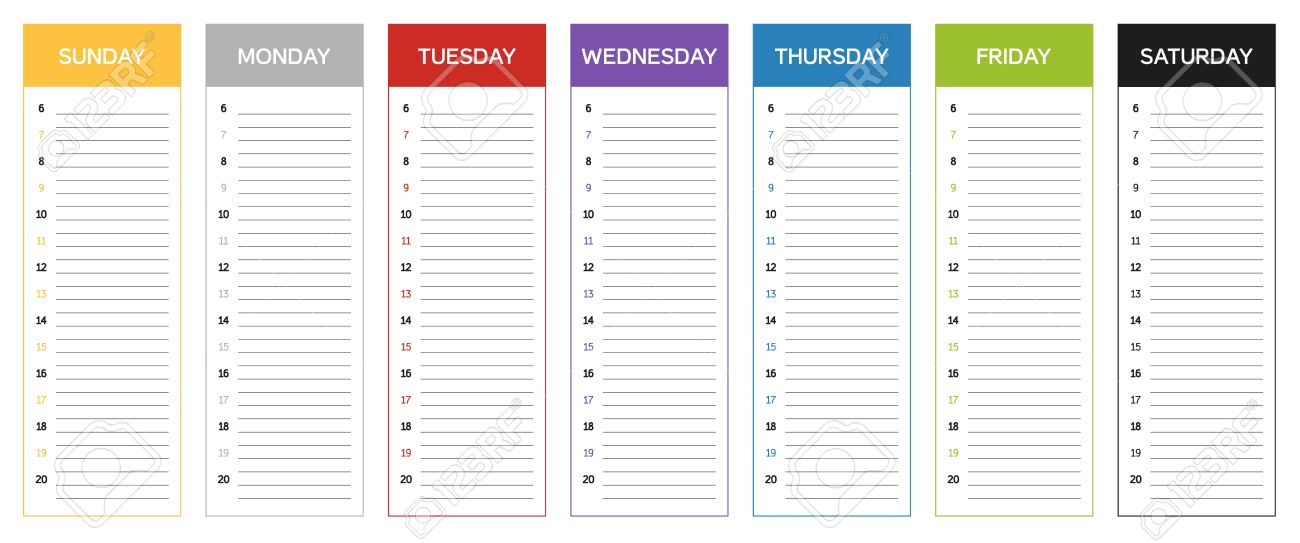 Calendario Planning.Week Planning Calendar In Colors Of The Day Sunday To Saturday