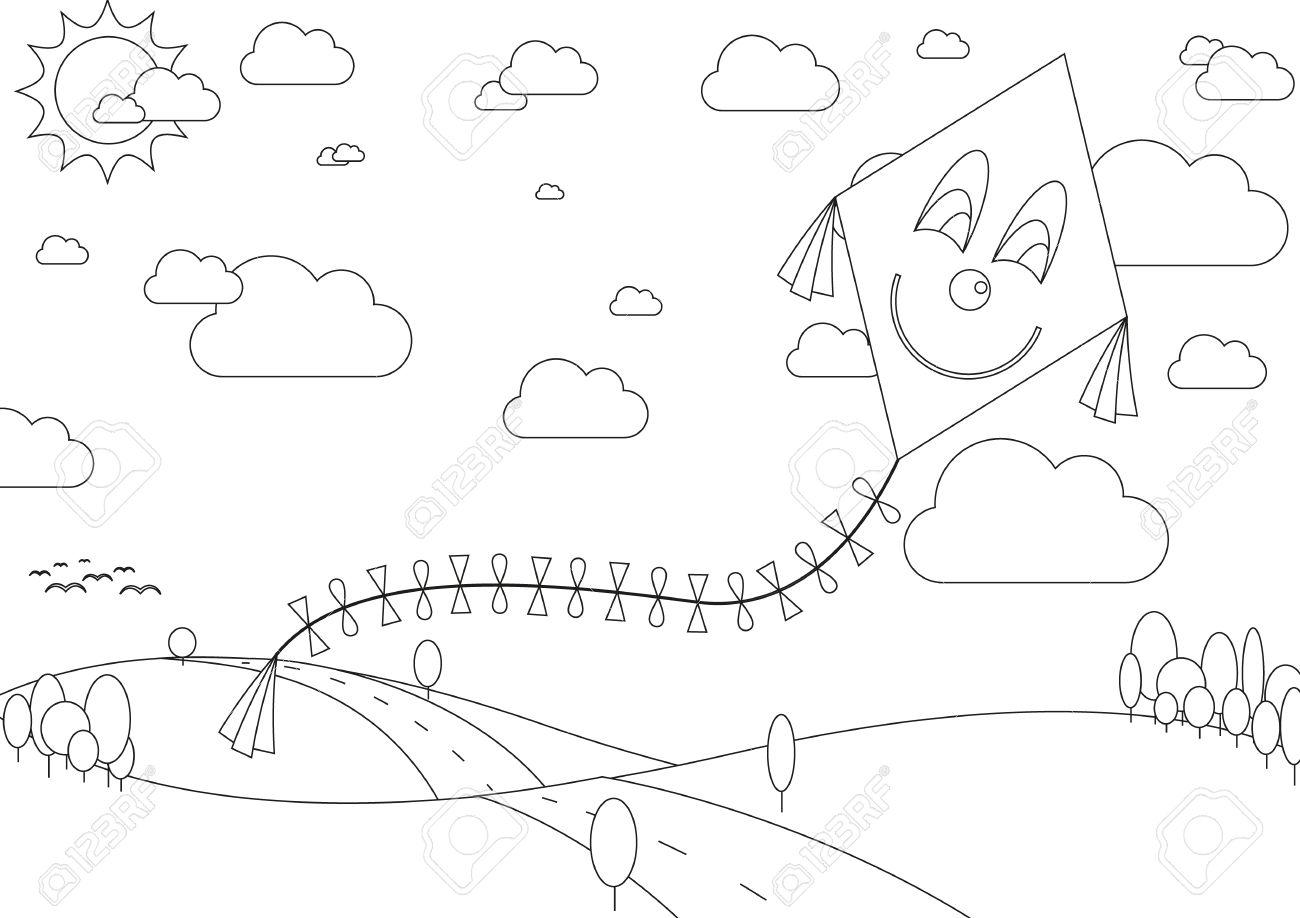Ilustración Del Vector Del Libro De Colorear Con Paisaje De Otoño Con La Cometa Durante El Día Soleado