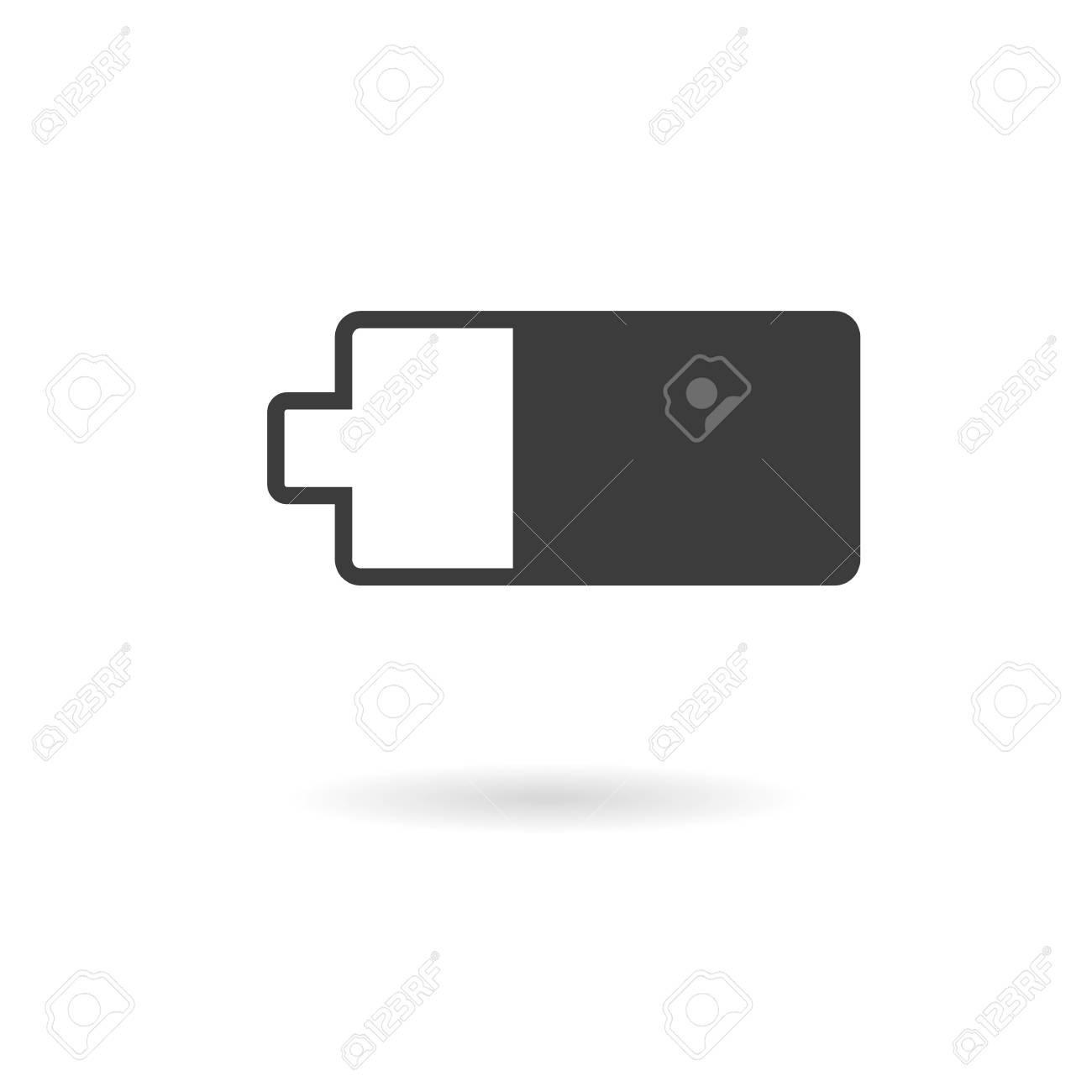 Aislado oscuro icono gris de dos tercios de la batería cargada en el fondo  blanco con la sombra