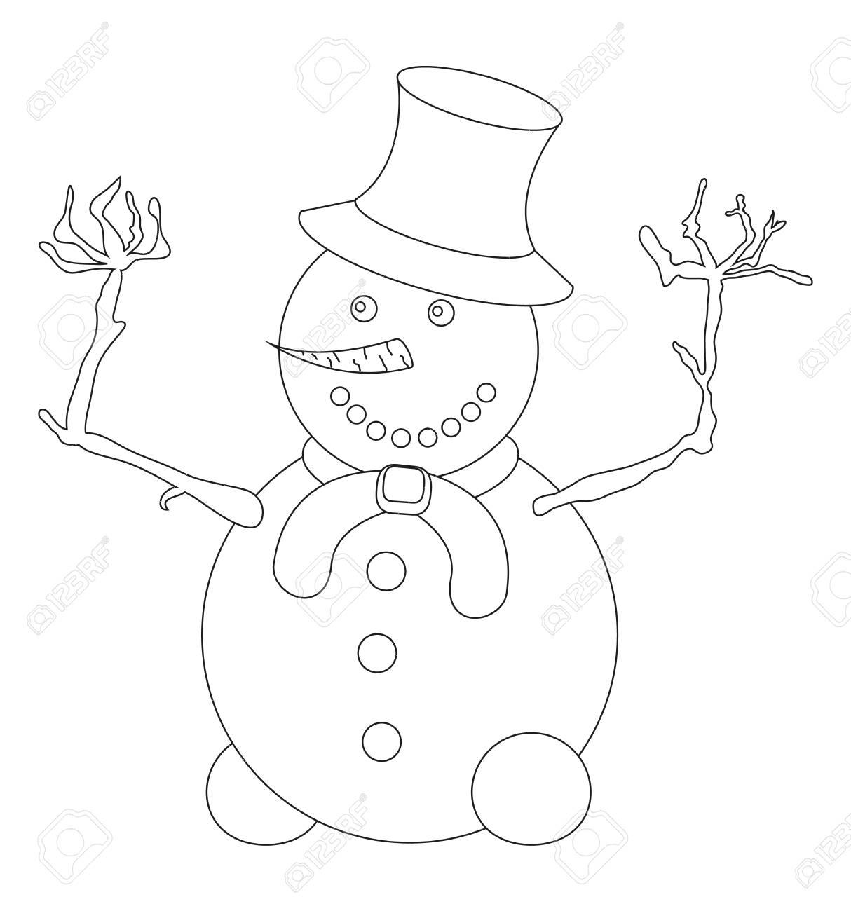Muñeco De Nieve Para Colorear Página Del Libro Esboza Muñeco De