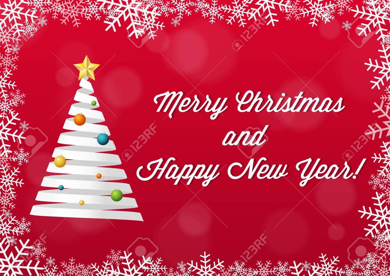 merry christmas and happy new year card with snowflake border red background with bokeh effect