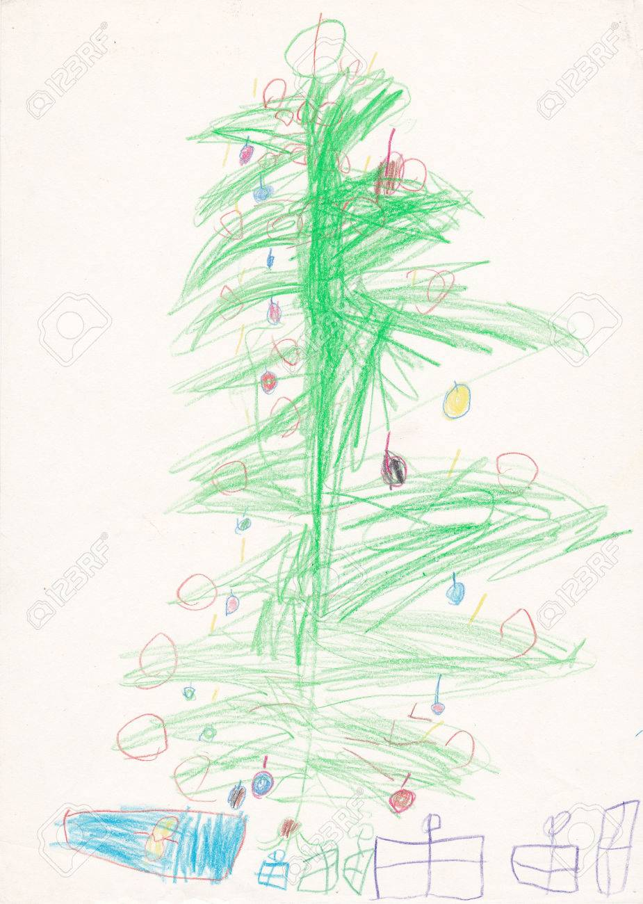 Christmas Tree With Gifts - Original Illustration Made By Child ...