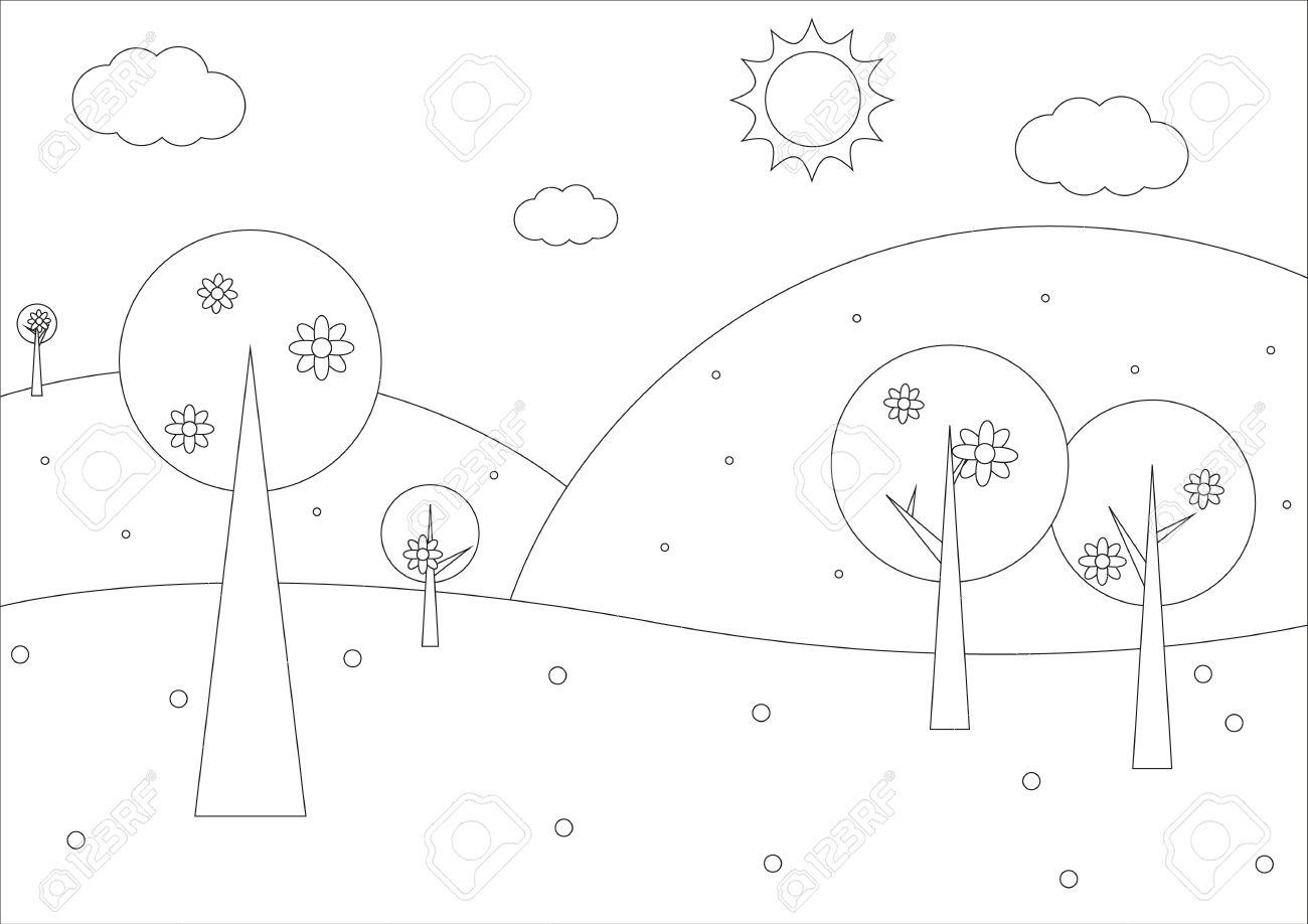 Libro Para Colorear Paisaje Geométrica Simple Muelle Con árboles Y Una Gran Cantidad De Flores