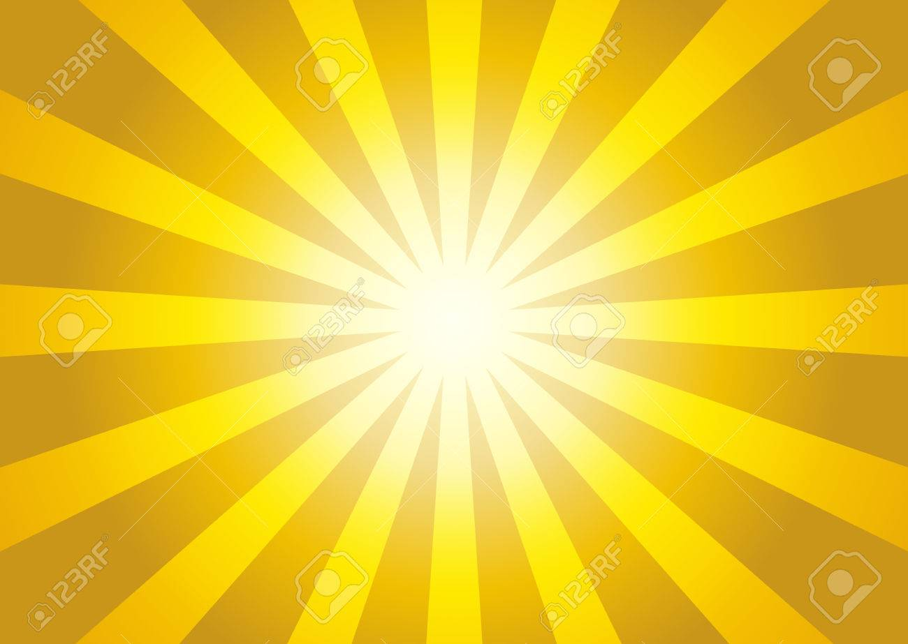 Illustration of yellow color burst - sun rays from center to sides - 53783858