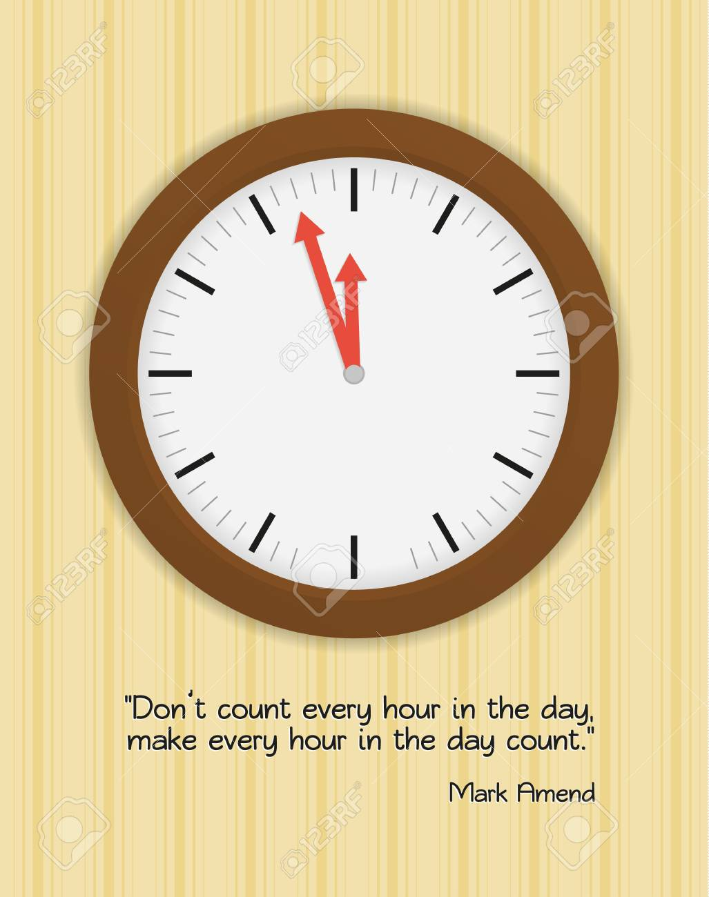 Wood Clock On Wall With Wallpaper And Quote About Time And Its