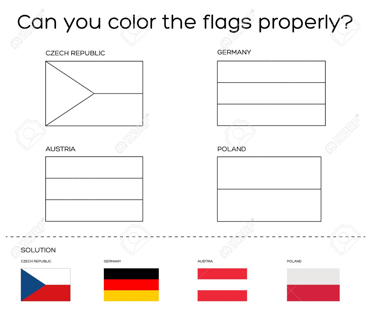 Coloring book task - European flags with solution - official..