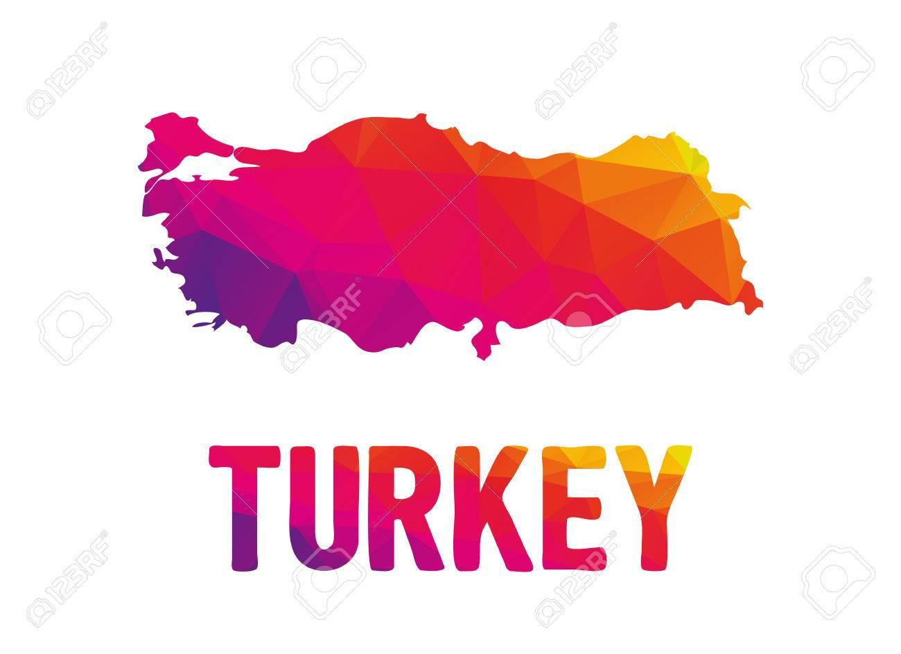 Niedrige Polygonal Karte Der Türkei In Warmen Farben, Republik ...