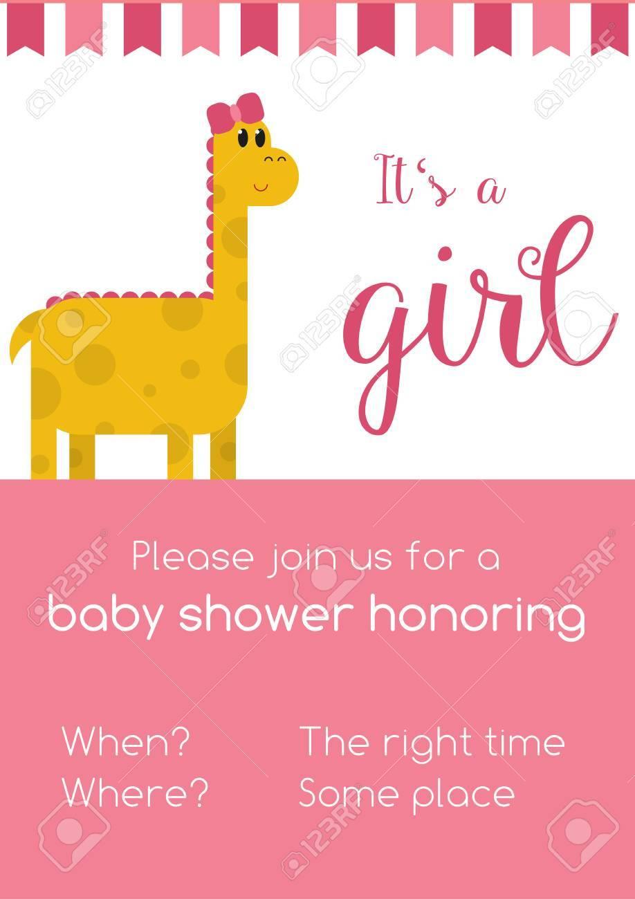 Rose Et Invitaion Blanc Pour Fille Baby Shower Honneur Avec Le Texte De Modèle à Remplacer Avec Votre Information Avec Dinosaure Femelle Jaune
