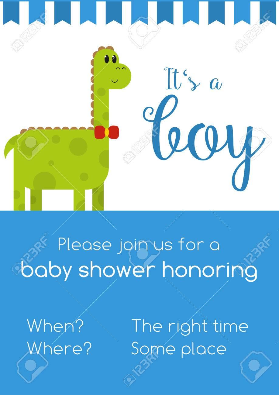 Bleu Et Blanc Pour Invitaion Garçon Baby Shower Honneur Avec Le Texte De Modèle à Remplacer Avec Votre Information Avec Mignon Dinosaure Mâle Vert