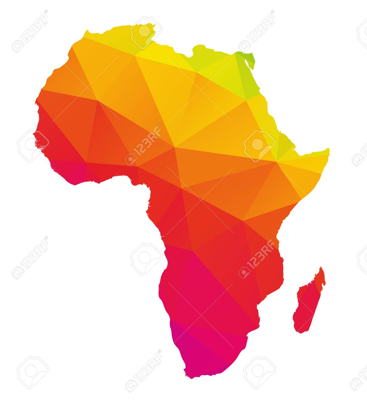 Colorful Map Of Africa.Colorful Polygonal Map Of Africa With Madagascar Geometry Cartography