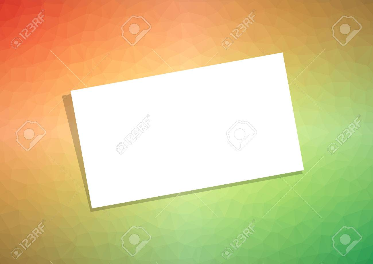 Business card or visiting card template with shadow on orange business card or visiting card template with shadow on orange green polygonal background light reheart Images