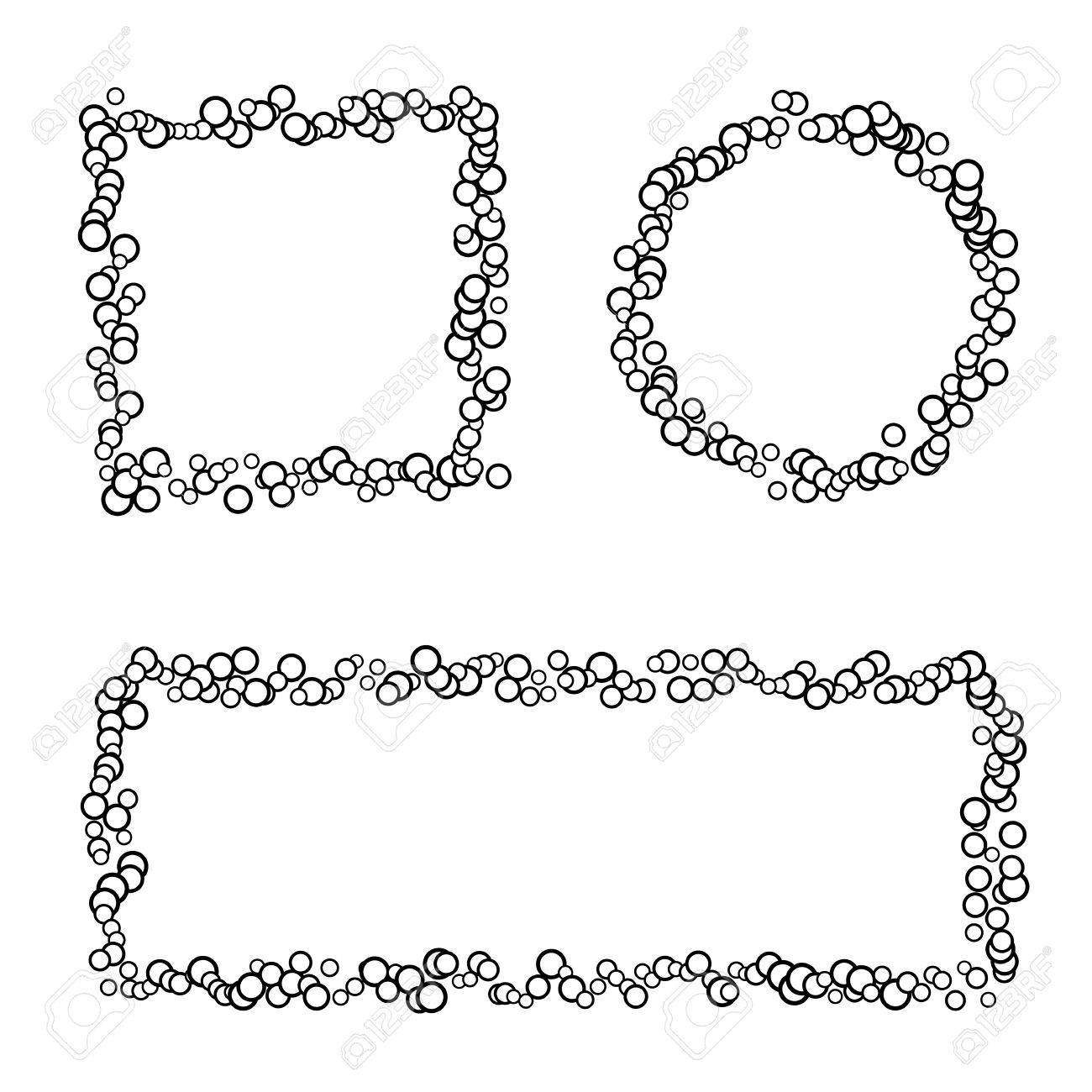 Collection Of 3 Isolated Frames Made Of Small Circles, Black ...