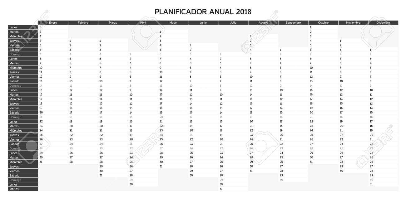 Calendario Planning.Year Planning Calendar For 2018 In Spanish Vector