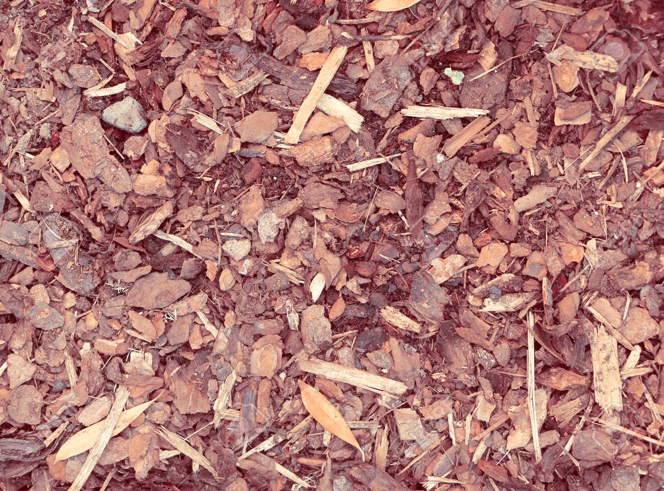 Close View Of Pulverised Tree Bark Mulch Used For Horticulture