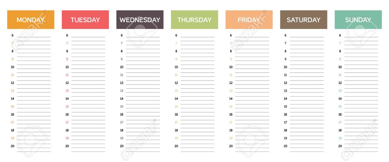 week planning calendar in muted colors with retro or vintage feel