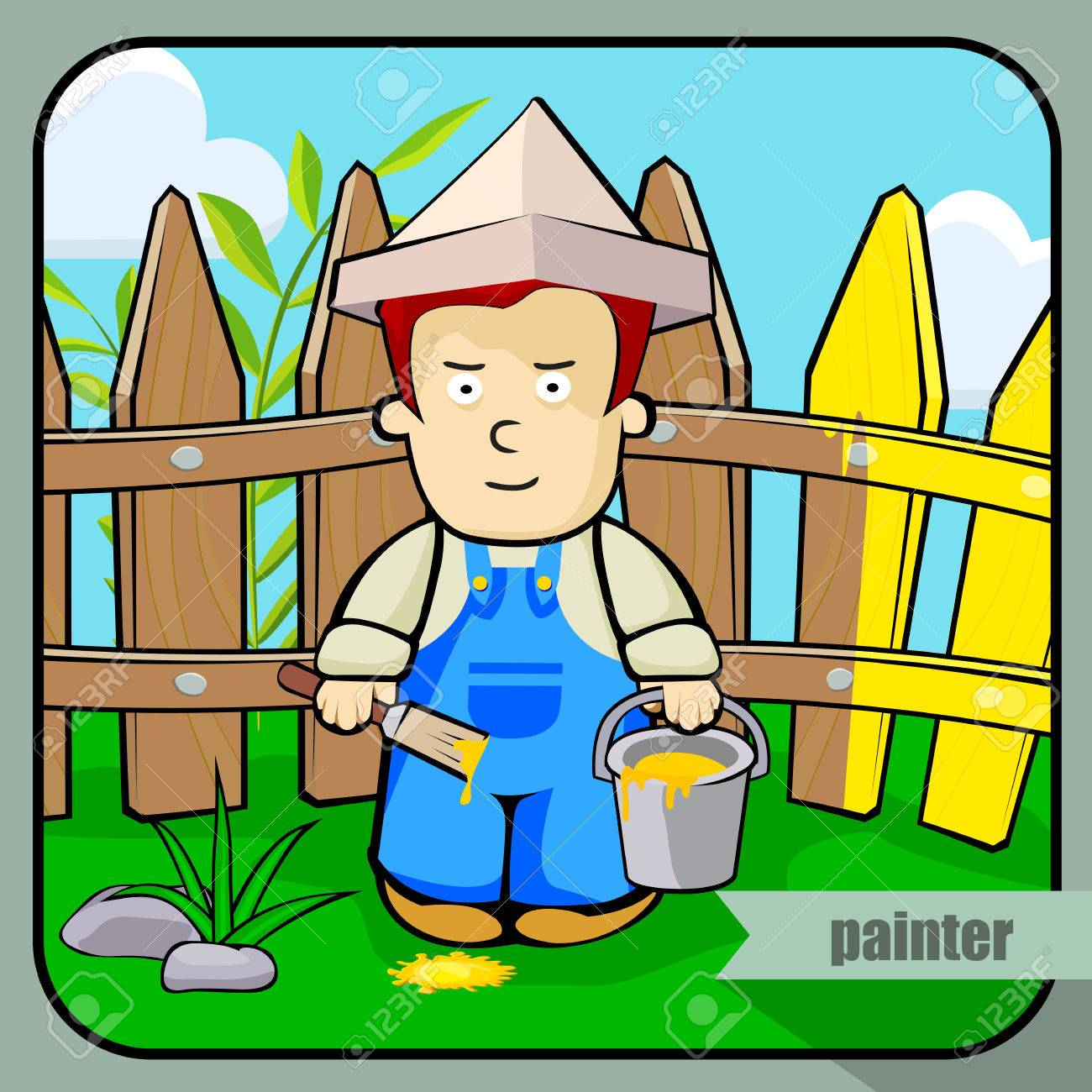 vector person character portrait painter portrait isolated on rh 123rf com Bird Vector Picket Fence Vector