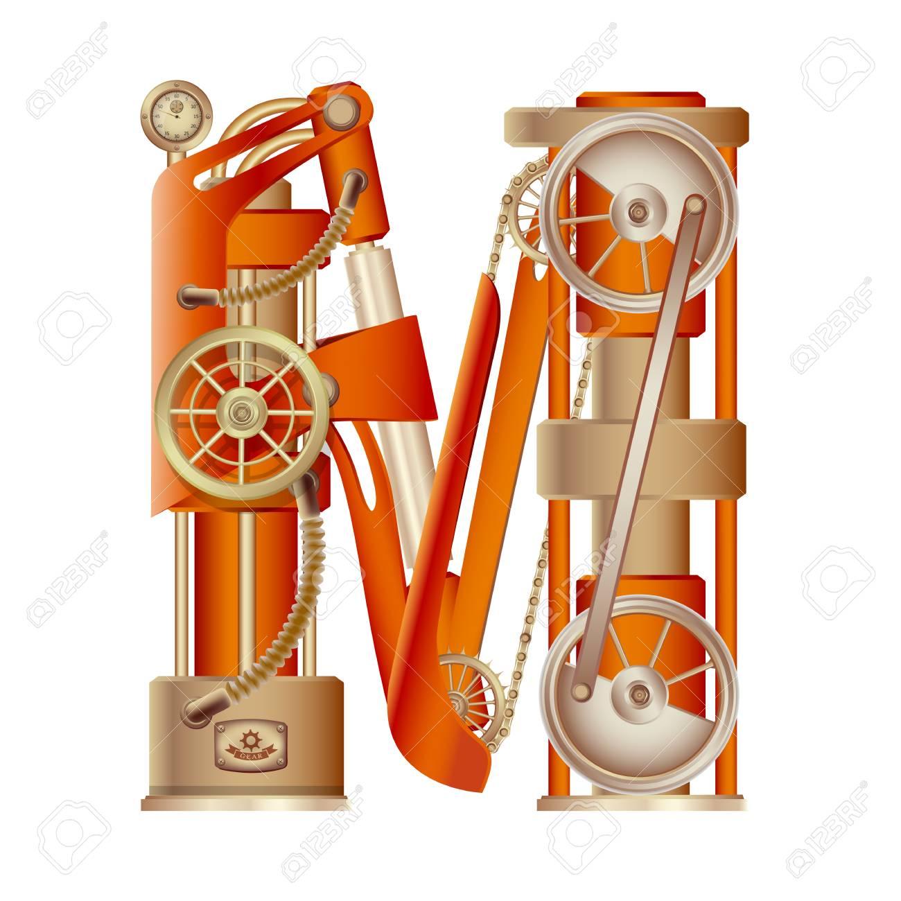 La Lettre M De L Alphabet Latin Faite Sous La Forme D Un Mecanisme