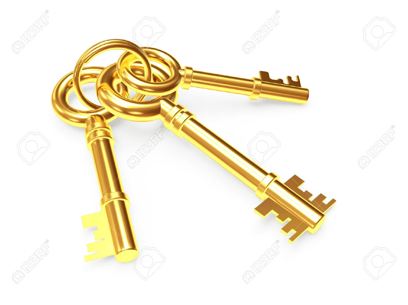 Bunch of three old golden keys isolated on white background - 50261256
