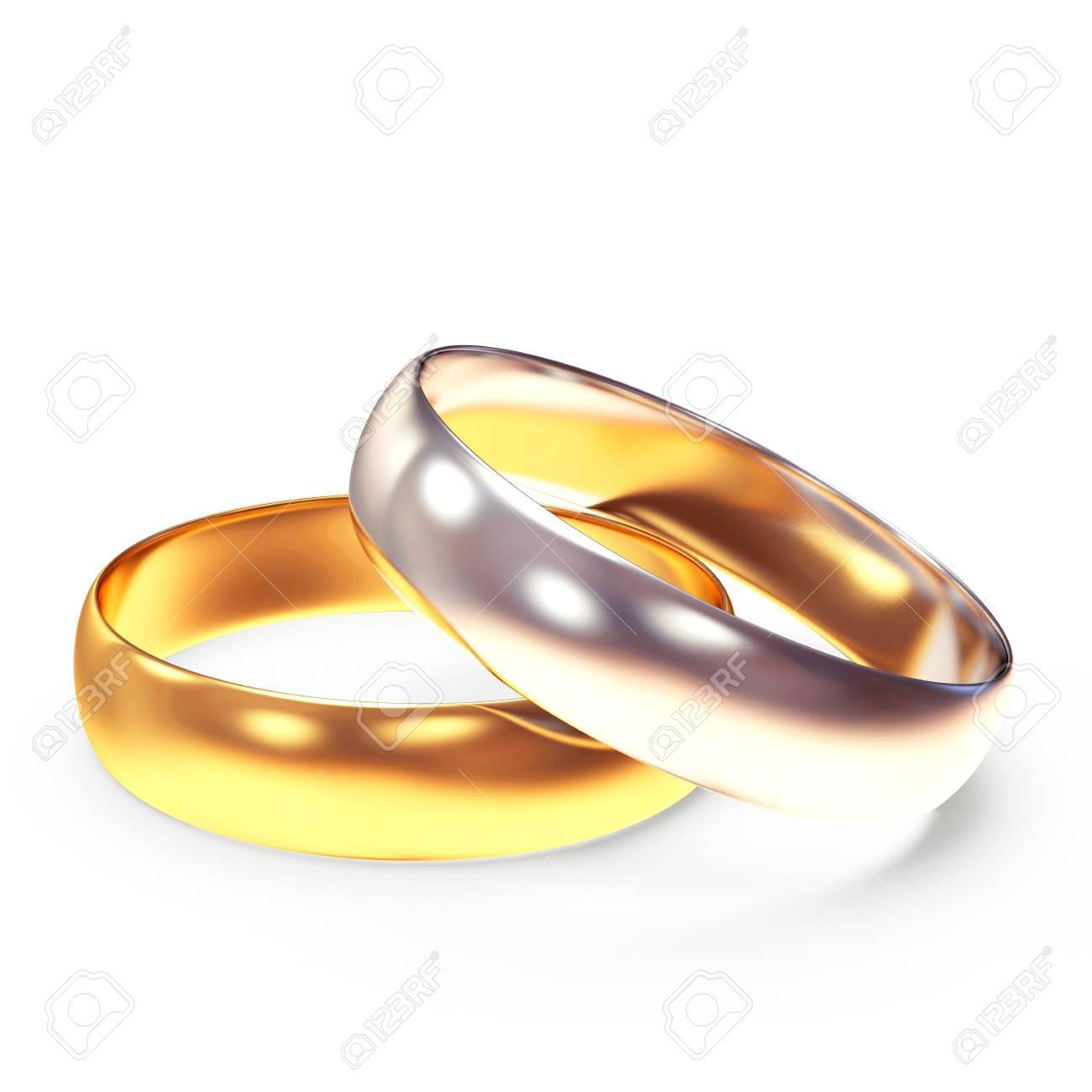 Goldene Und Silberne Hochzeit Ringe Auf Weissem Hintergrund