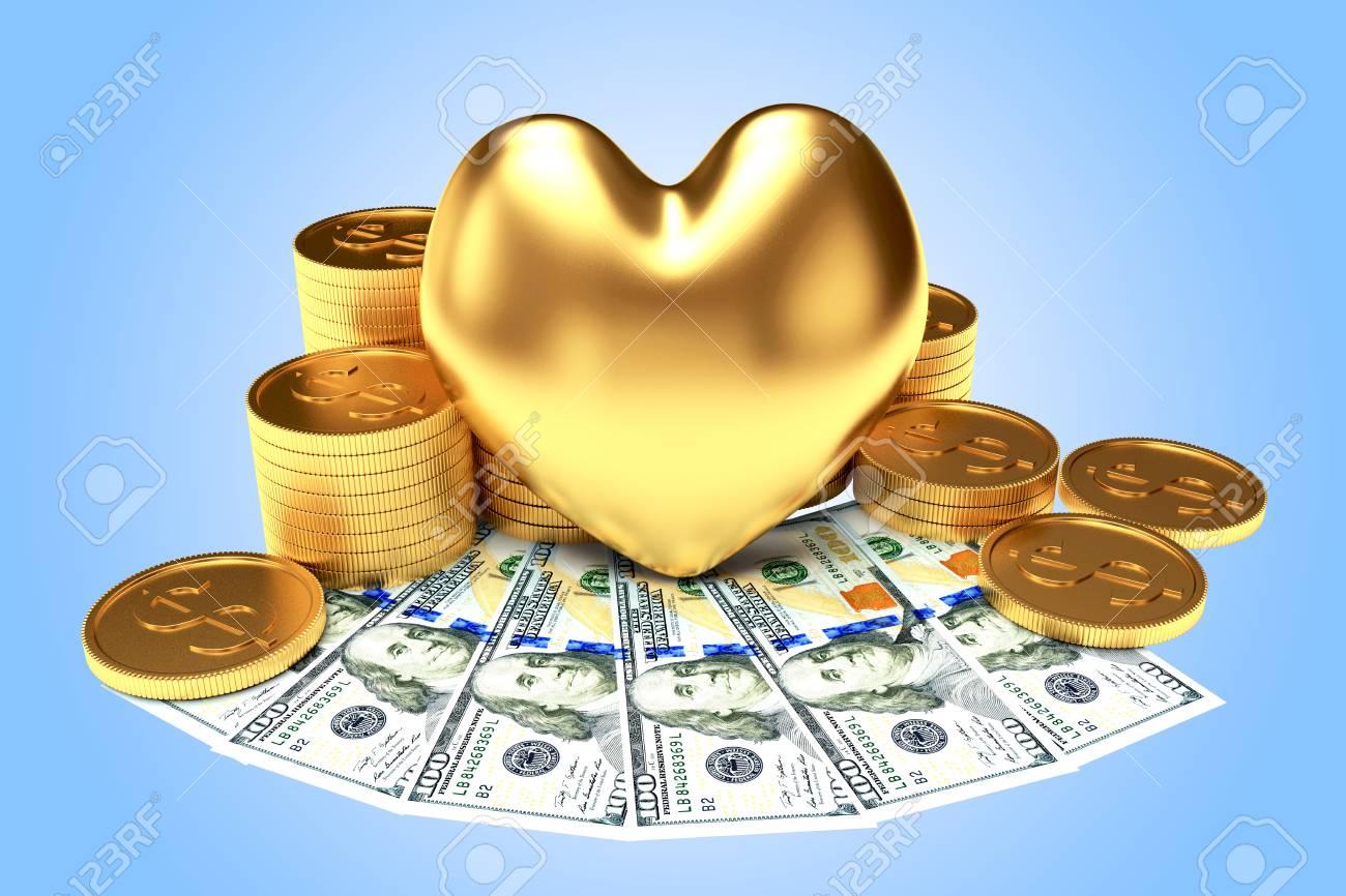 Die Liebe Zum Geld Konzept Goldenes Herz Unter Einem Haufen Von