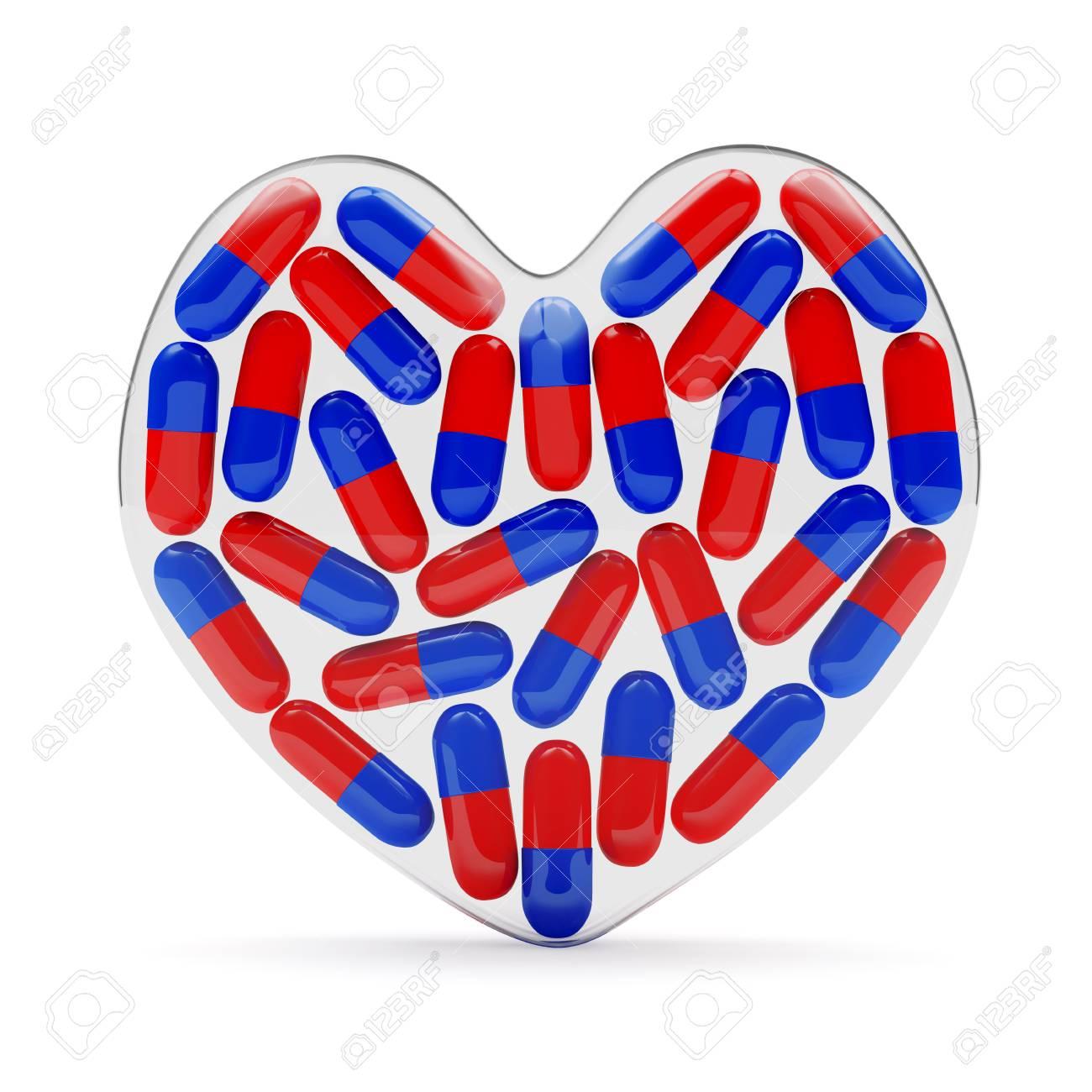 fragile glass heart full of pills isolated on white background stock