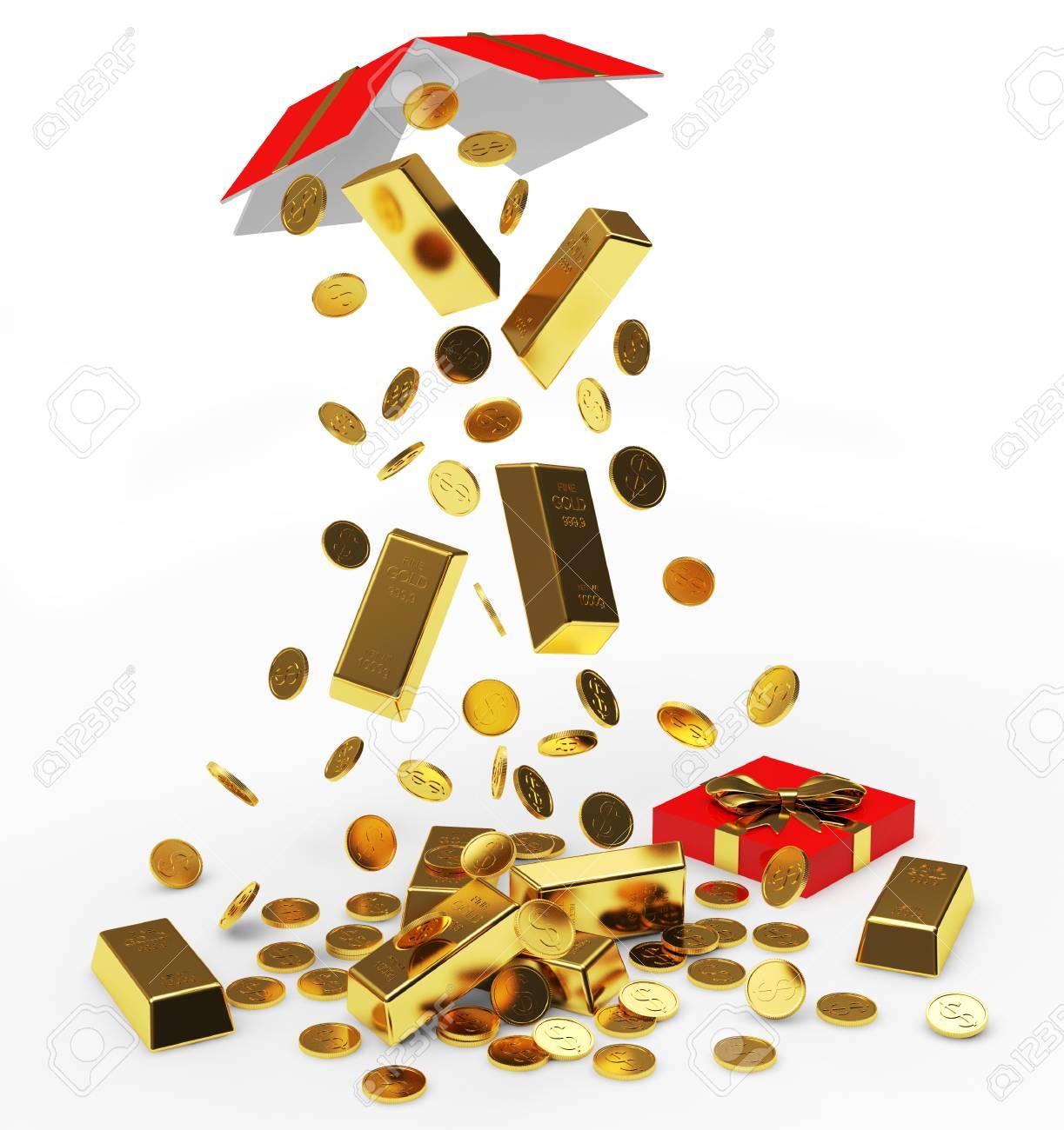 Fallen Goldenen Münzen Und Barren Aus Offenen Geschenk Box Isoliert
