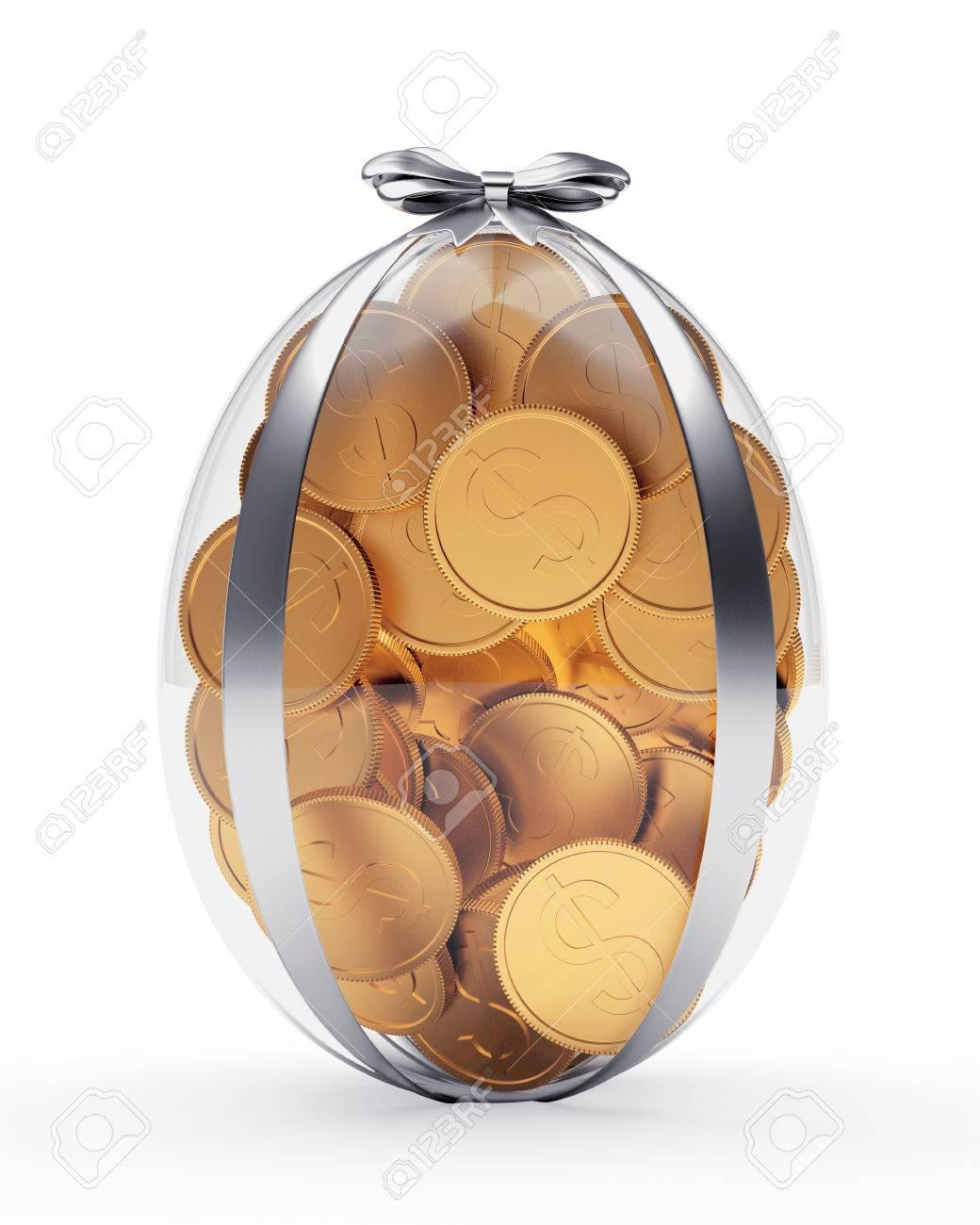 Easter gift glass easter egg full of golden coins isolated on easter gift glass easter egg full of golden coins isolated on white background stock photo negle Images
