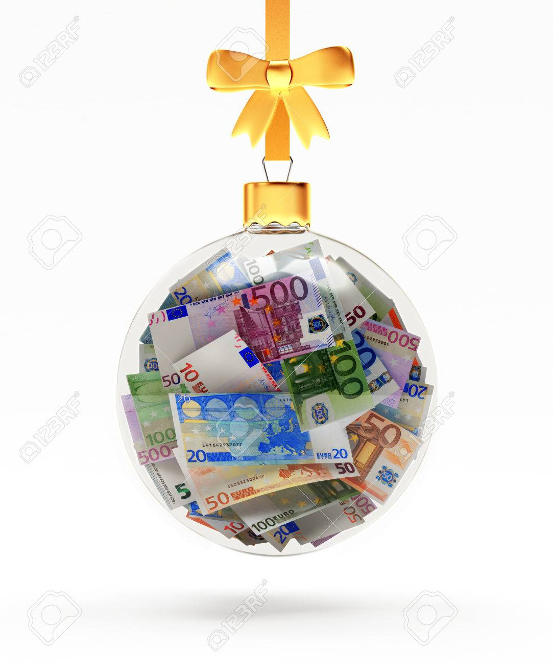 Glass Christmas ball full of euro bills hanging on a golden ribbon isolated on white background. 3D illustration - 64521275