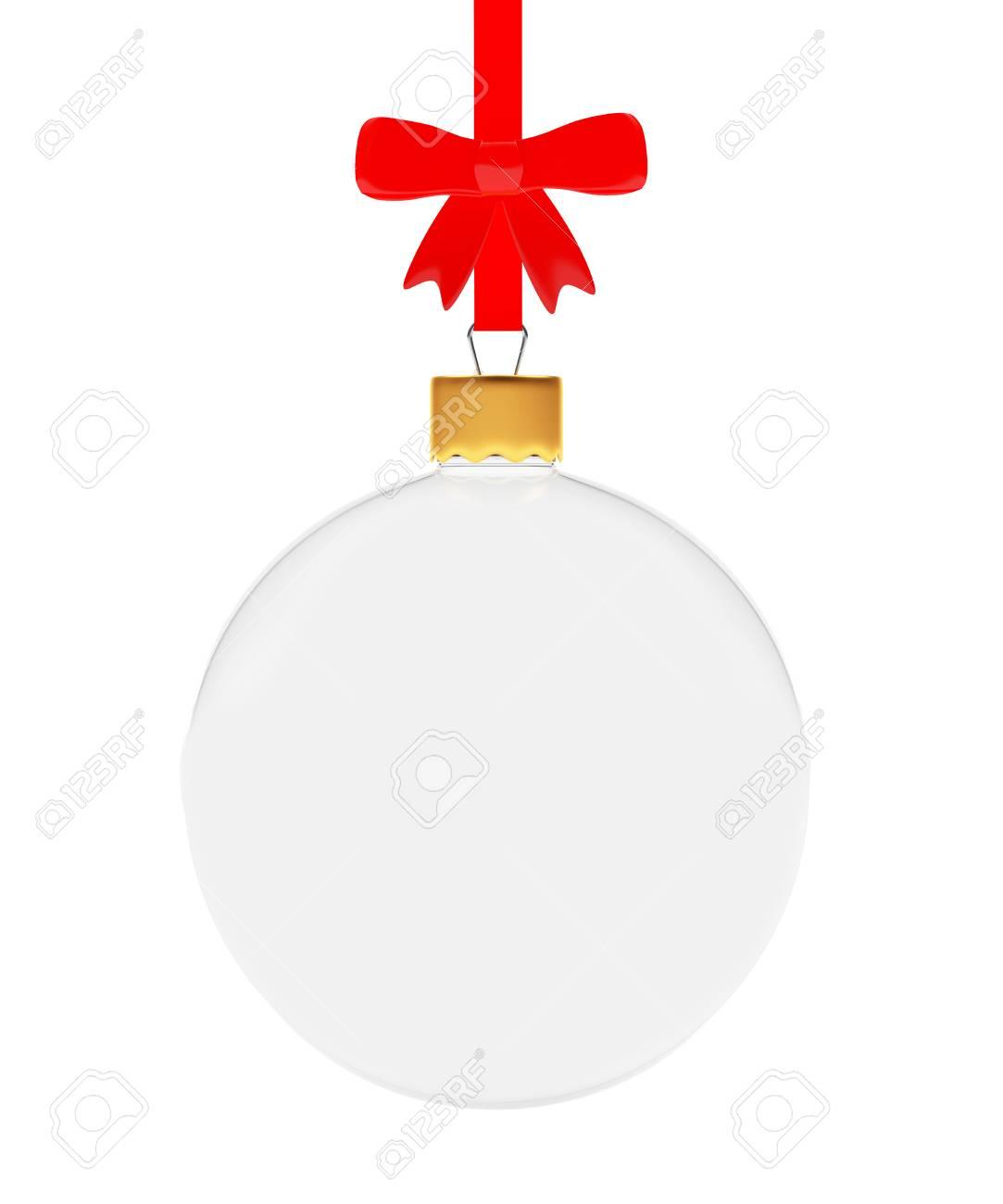 Boule De Noel Transparente A Decorer décoration de noël. verre transparent boule de noël suspendu à un ruban  rouge avec archet isolé sur fond blanc. illustration 3d