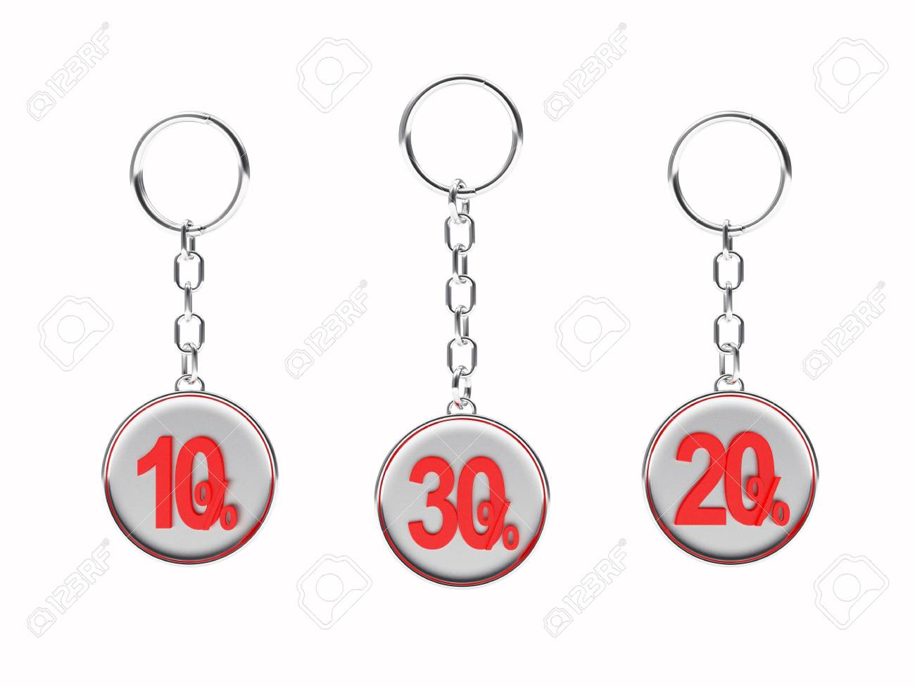 Illustration - Set of silver keychains with red 10 77381fb78bc0