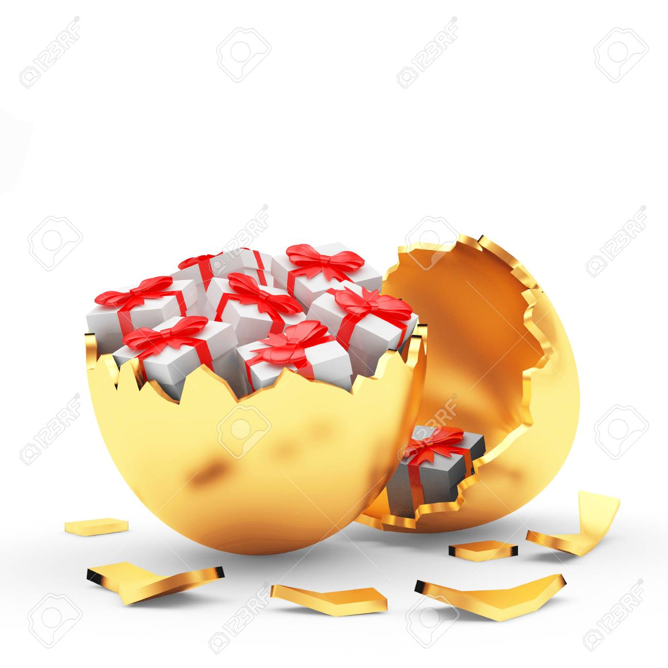 Broken golden easter egg with gift boxes inside isolated on white broken golden easter egg with gift boxes inside isolated on white 3d illustration stock illustration negle Choice Image