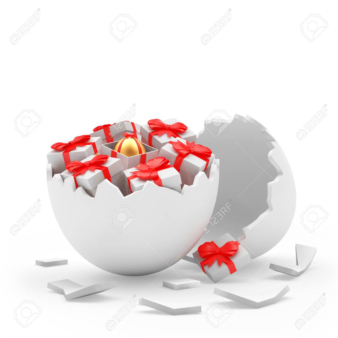 Broken white egg shall and gift boxes with golden easter egg stock broken white egg shall and gift boxes with golden easter egg inside 3d illustration stock negle Choice Image