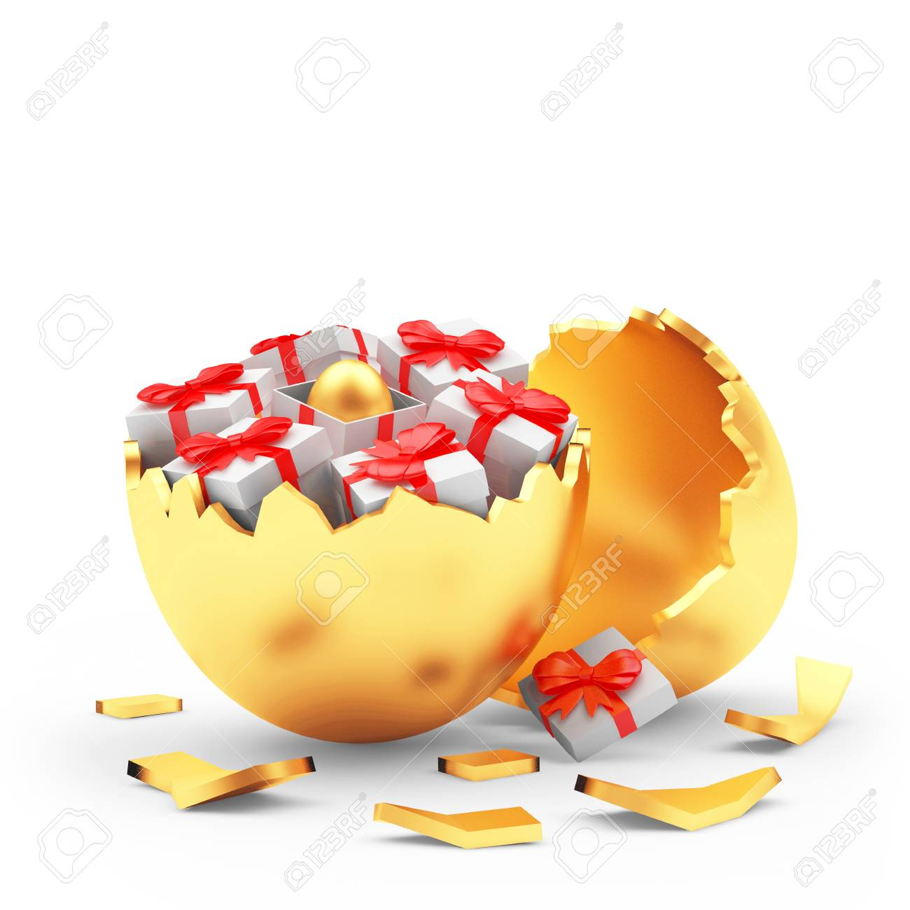 Broken golden egg shall and gift boxes with easter egg inside broken golden egg shall and gift boxes with easter egg inside 3d illustration stock illustration negle Gallery