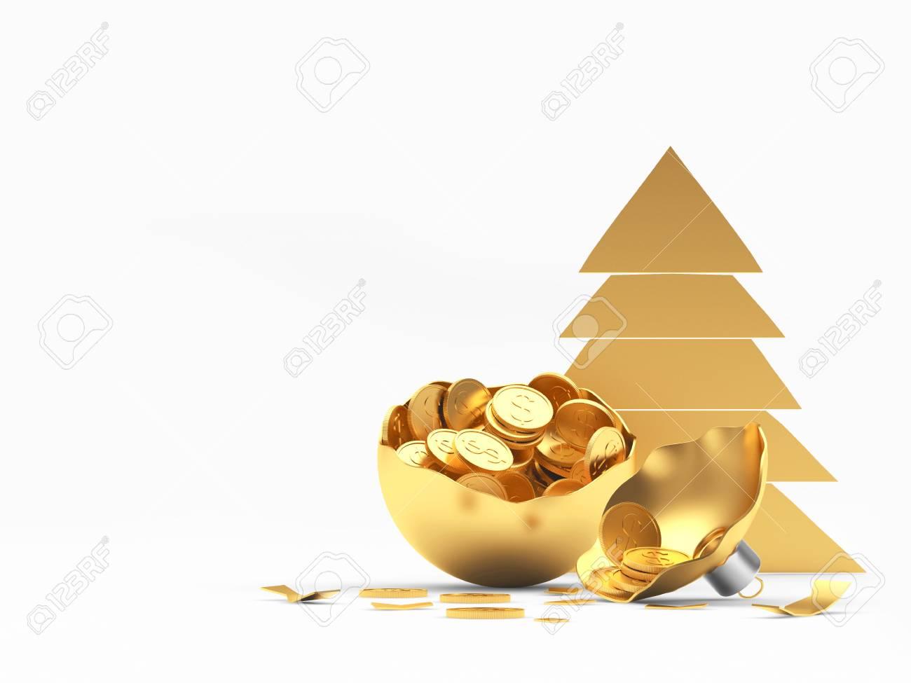 Golden Christmas Tree Icon And Broken Christmas Ball Full Of Stock