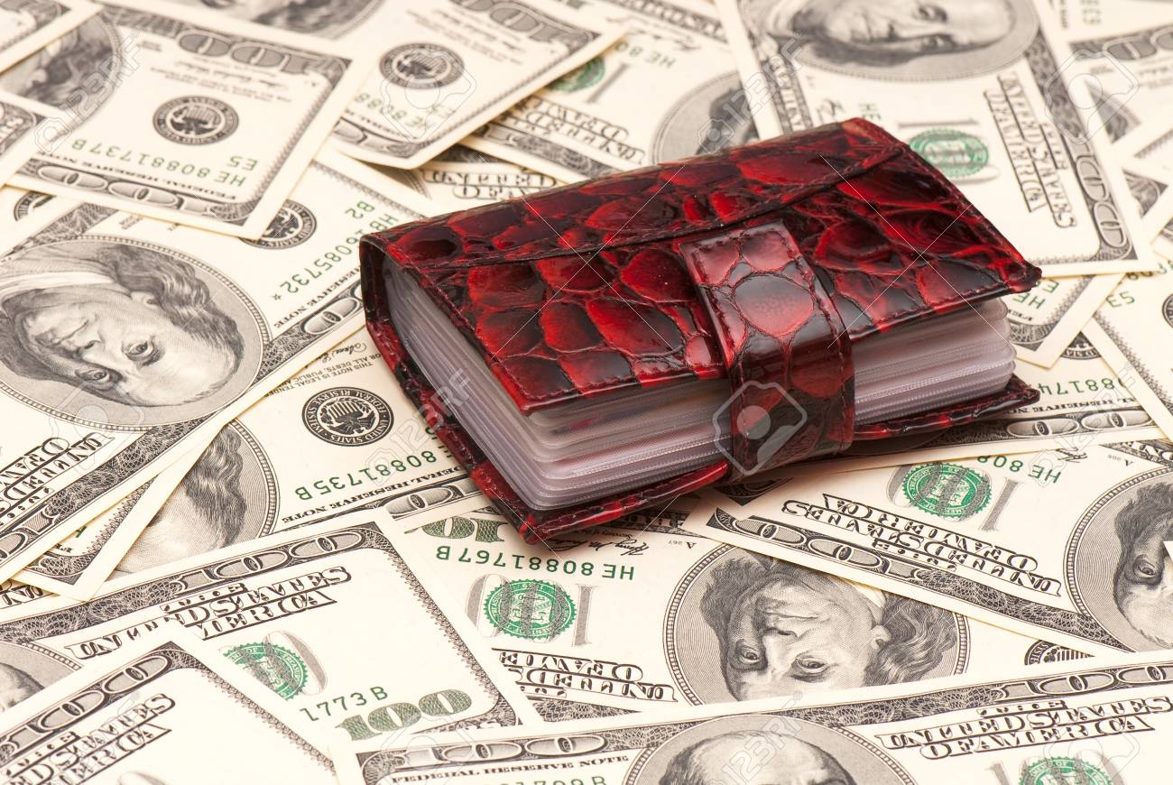 Leather purse cards on background of American money. Studio photo Stock Photo - 12587804