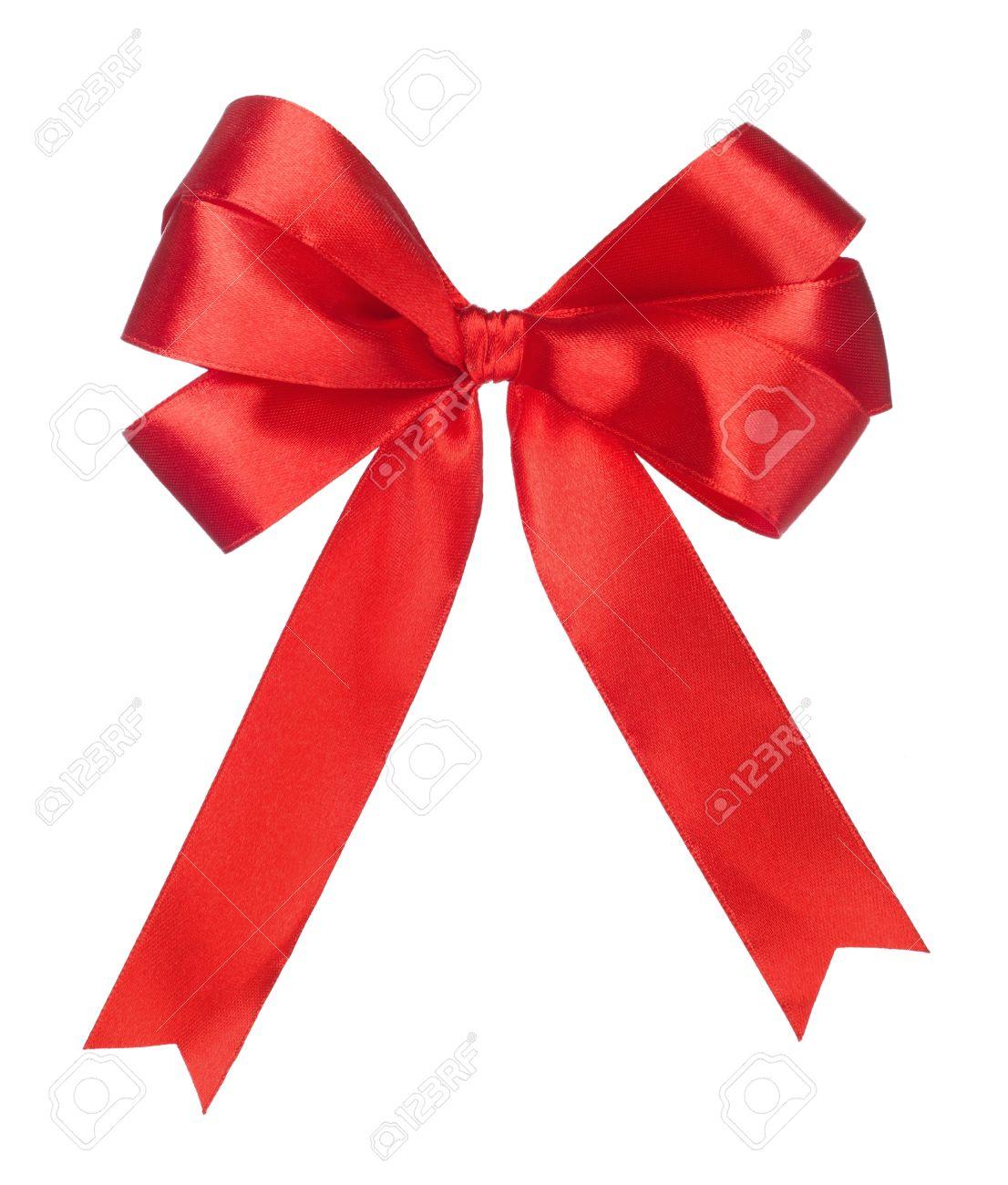 Fabuleux Regalo Nastro Rosso Fiocco Di Raso Su Sfondo Bianco Foto Royalty  XP15