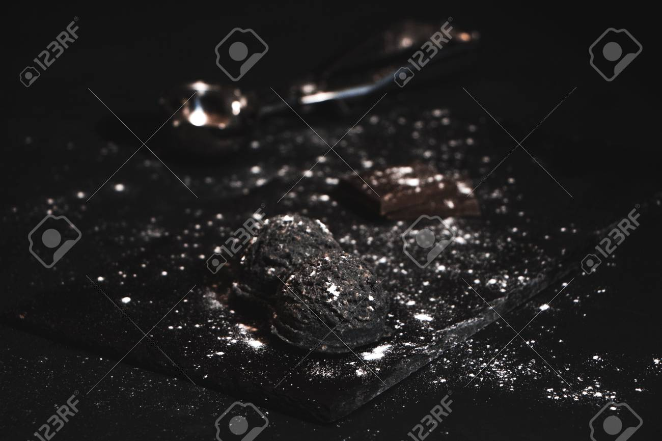Chocolate Ice Cream Restaurant On Dark Background Stock Photo Picture And Royalty Free Image Image 104546326