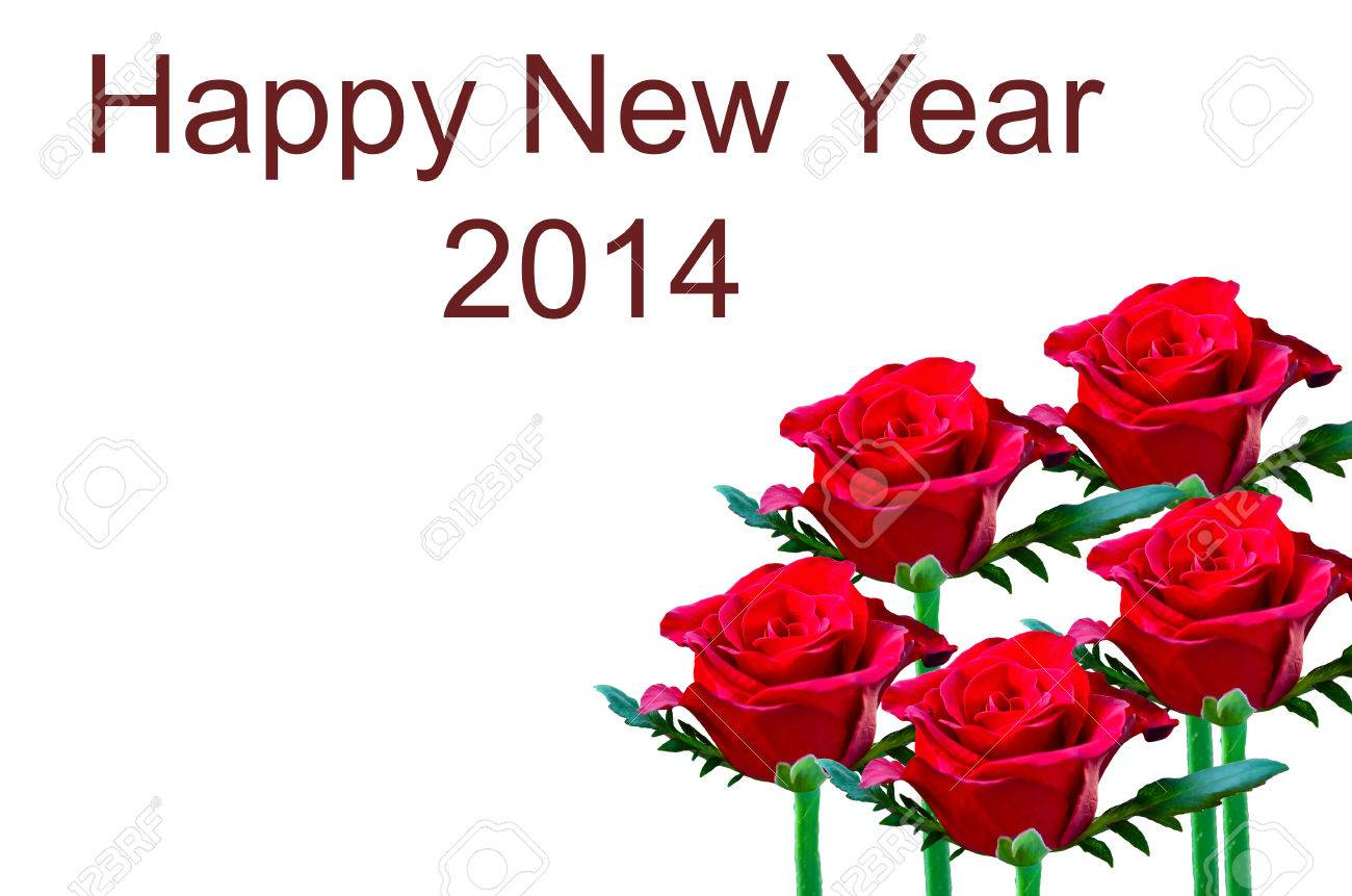 beautiful red rose write happy new year stock photo 23124235