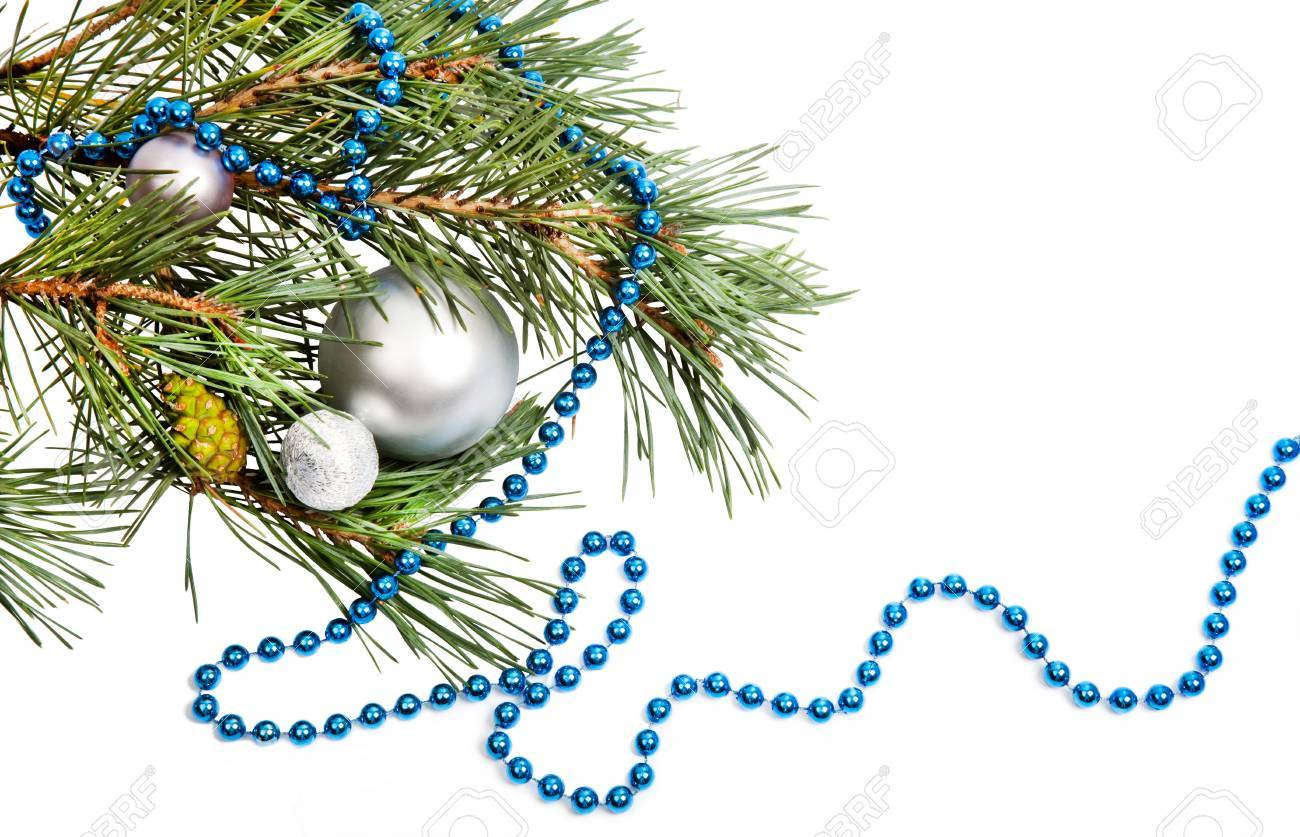 Christmas decorations with silver balls and blue beads on white background Stock Photo - 15223438