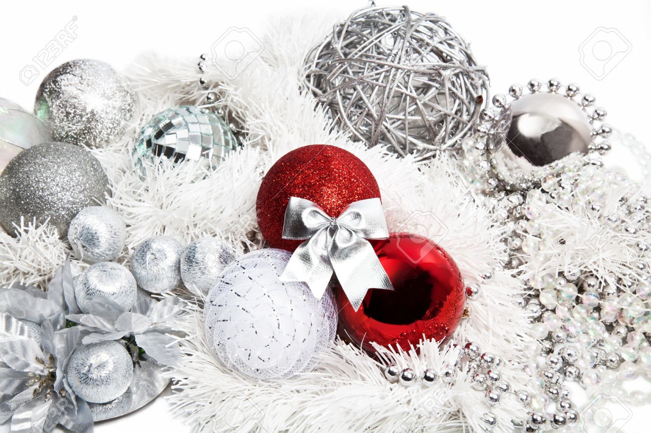 Silver and red christmas decorations - Christmas Red And Silver Decorations On White Background Stock Photo 15223440