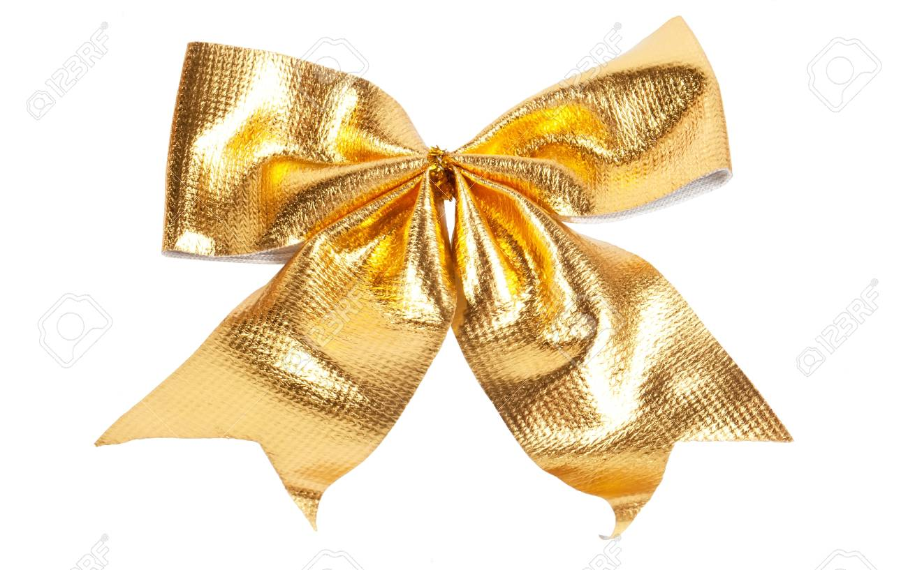 Golden Christmas bow isolated on white Stock Photo - 15414486