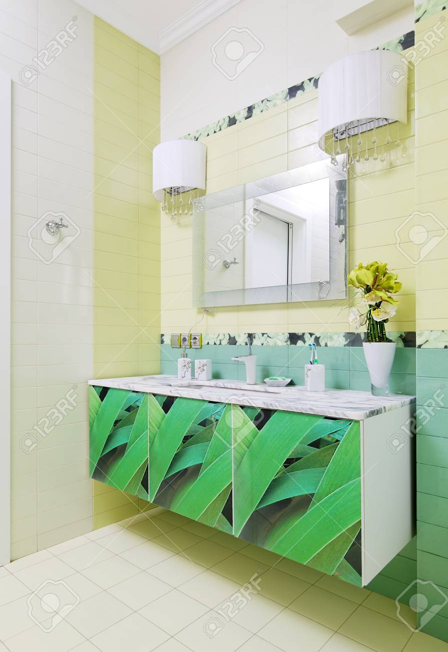 hermosas fotos de diseño de baño Diseo De Bao Con Estampado De Hierba Hermosa En Gabinete Del Bao