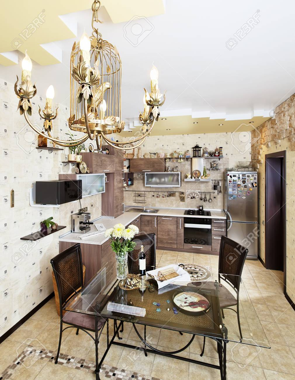 beautiful wooden kitchen with dinner table and chairs in yellow rh 123rf com kitchen dining table and chairs argos Diner Table and Chairs
